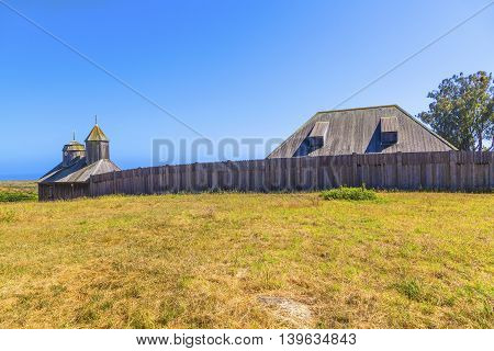 Fort Ross State Historic Park with old wooden fort