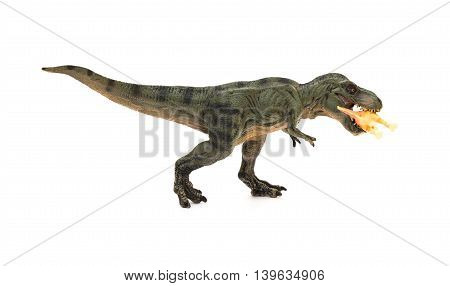 side view tyrannosaurus bites a smaller dinosaur on a white background