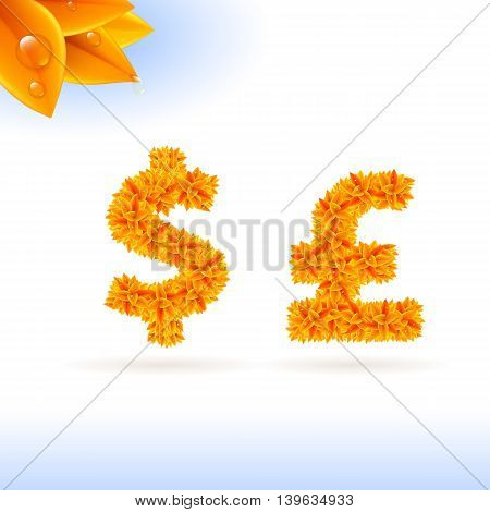 Sans serif font with autumn leaf decoration on white background. Dollar and euro sings