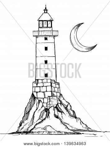 Hand Drawn Vector Illustration - Lighthouse On The Rock. Sketch Style