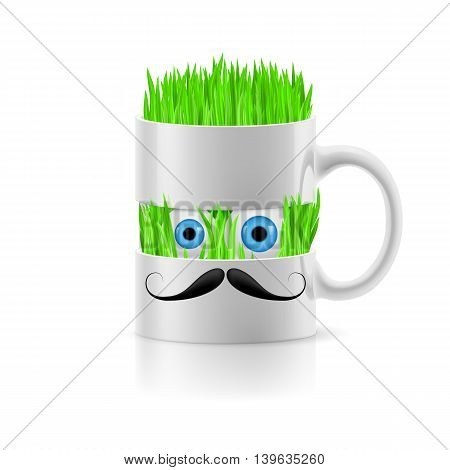 White mug of two parts with moustache having grass and two eyes inside.