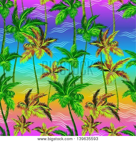 palms pattern. seamless vector palms design on neon background. for fashion, active wear, swimwear, interior