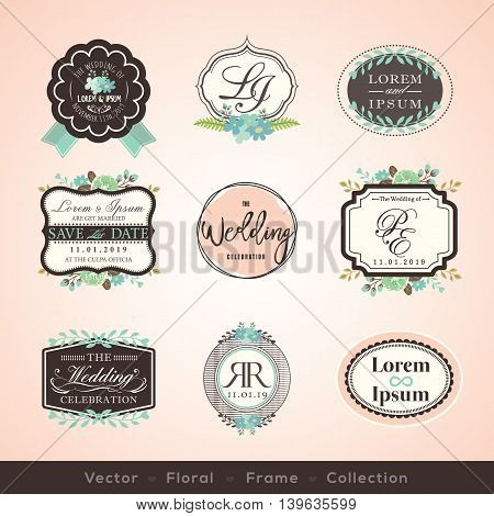 vintage frames and design elements for wedding invitation birthday greeting cards