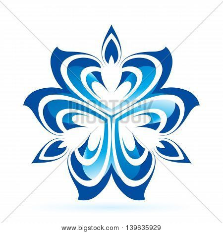 Abstract flower in blue shades on white background
