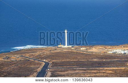 beautiful lighthouse of Playa Blanca in Lanzarote