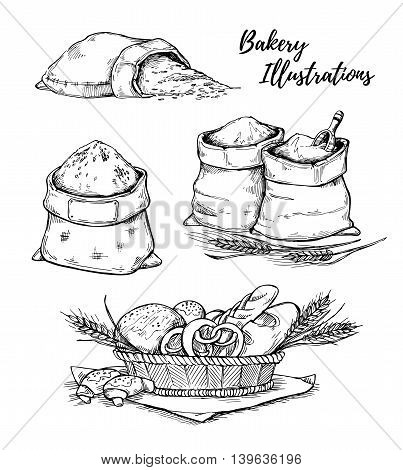 Hand drawn vector illustrations - bakery. Basket with pastry. Sacks of flour and grain. Sketch