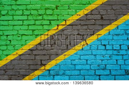 Flag of Tanzania painted on brick wall background texture