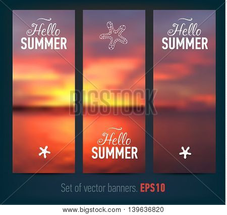 Set of banners with sunset background. Vector illustration.