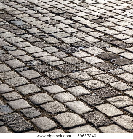 old historic vintage cobble stone street pattern