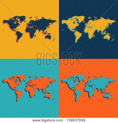 Color World Maps. Flat style. Vector EPS illustration