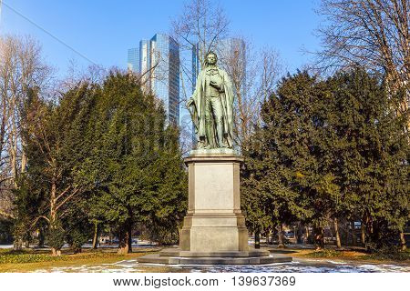 statue of Friedrich Schiller in Frankfurt under blue sky