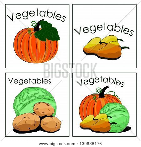 Set of stickers of fresh vegetables. It can be used for sale vegetable department in markets or stalls advertising for all products from vegetables and other application