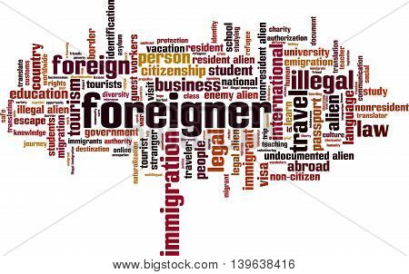 Foreigner word cloud concept. Vector illustration on white