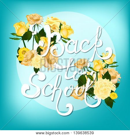 Welcome back to school background, with hand drawn lettering, elements and realistic pencils. Vector illustration.