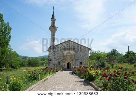 View of the ancient mosque of Uzbek Khan, sunny june day. Stary Krym