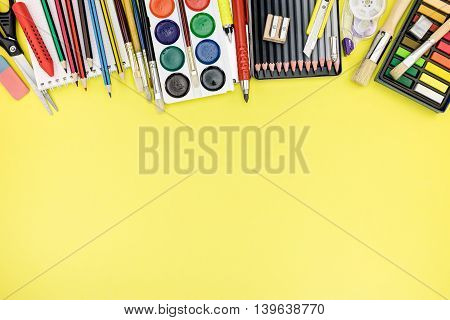 Writing Desk With Colorful Stationary For Education Process