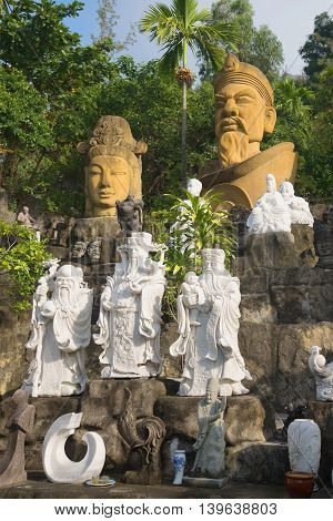 DA NANG, VIETNAM - JANUARY 05, 2016: View of the stone sculptures at the foot of the Marble mountains. Tourist landmark of the city Da Nang, Vietnam