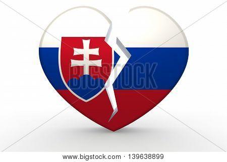 Broken White Heart Shape With Slovakia Flag