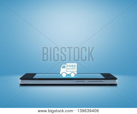 Free delivery truck icon on modern smart phone screen over light blue background Transportation business concept