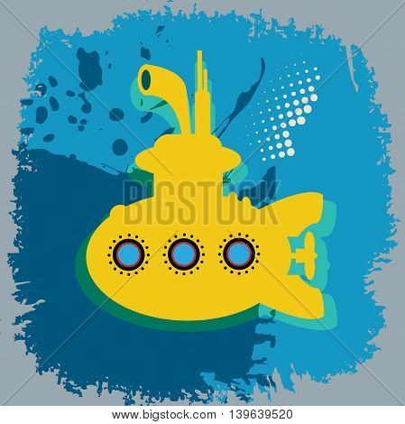Yellow submarine abstract color background, vector illustration