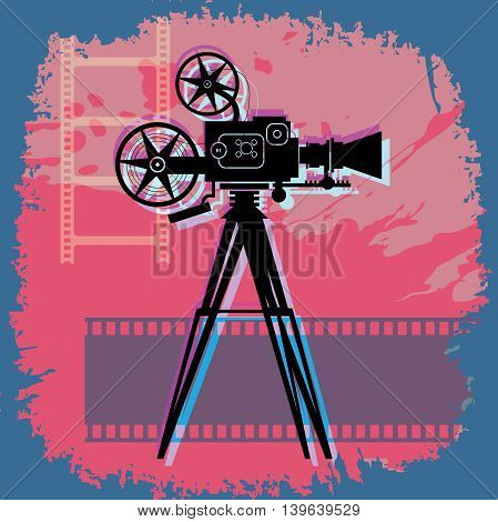 Vintage Abstract cinema color background, vector illustration