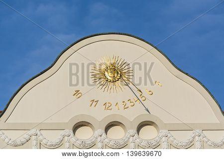Sundial clock in Essen-Kettwig on a house facade