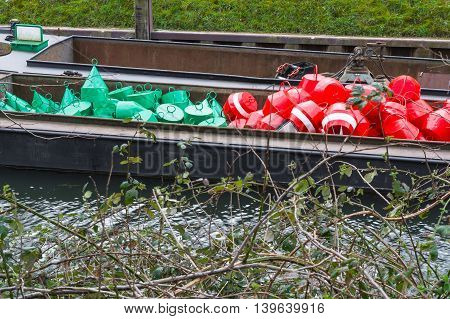Red and green buoys as marking the shipping waterway.