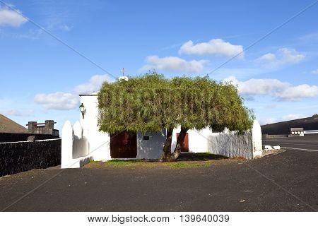 Small Tiny Chapel In Rural Area Of La Geria In Lanzarote