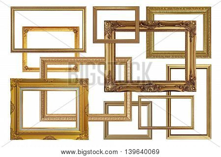 Antique Golden Picture Frames Isolated On White