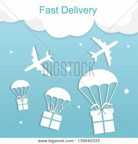 Concept of the fast delivery airplane with gift boxes. Flat vector illustration.