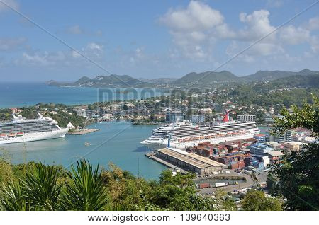 CASTRIES ST LUCIA CARIBBEAN 19 January 2015: Two Cruise Ships in Capital of St Lucia