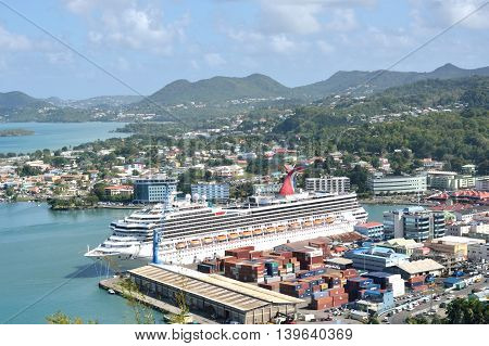 CASTRIES ST LUCIA CARIBBEAN 19 January 2015: Large Cruise Ship in harbour of Capital of St Lucia