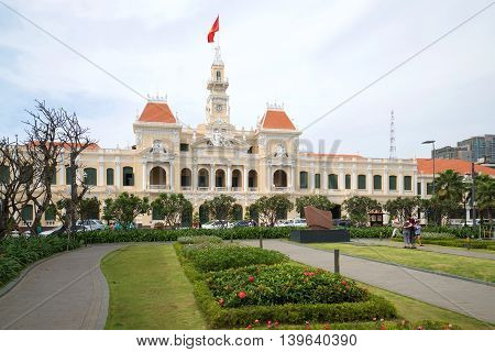 HO CHI MINH, VIETNAM - DECEMBER 19, 2015: The building of the city Council of the cloud by day. Historical landmark of the Ho Chi Minh City, Vietnam