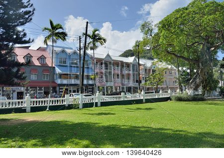 CASTRIES ST LUCIA CARIBBEAN 19 January 2015: Row of government buildings near town square