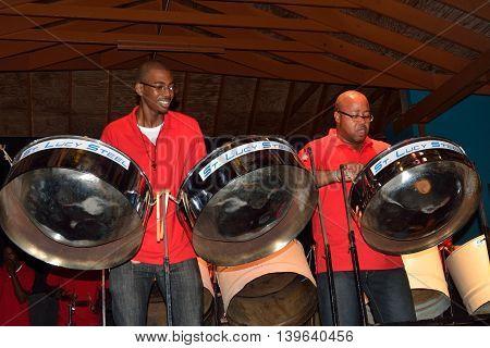 ST LUCIA CARIBBEAN 27 January 2015: Carribean steel band
