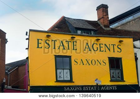 COLCHESTER ESSEX ENGLAND 8 March 2015: Traditional Estate Agent building