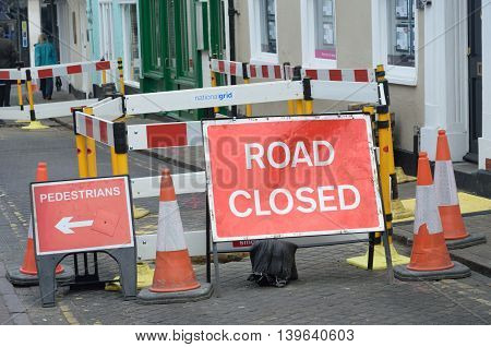 COLCHESTER ESSEX ENGLAND 8 March 2015: Road closed signs
