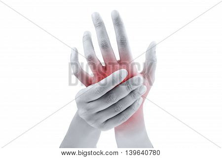 Woman massaging her painful hand on white background