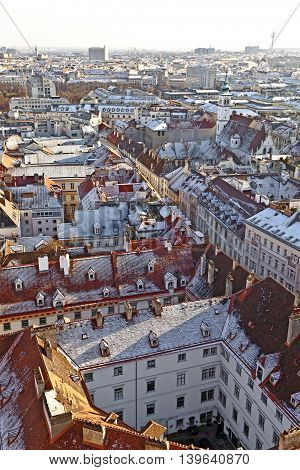 View Over Vienna In Snow