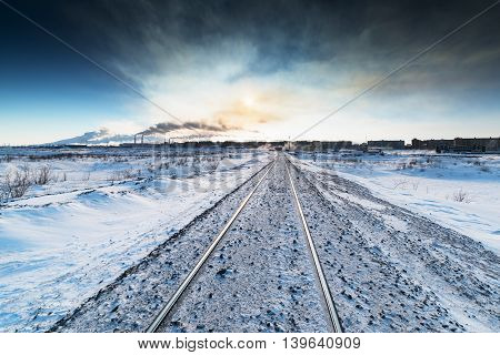 Winter railroad built on permafrost. Norilsk, Taimyr Peninsula