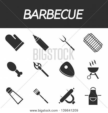 Vector set of barbecue and grilled food- steak, sausage, chicken and vegetables.