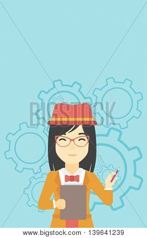 An asian young business woman with a pencil and a clipboard in hands standing on a blue background with cogwheels. Vector flat design illustration. Vertical layout.