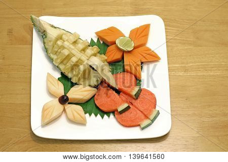 Mixed Fruit On White Plate