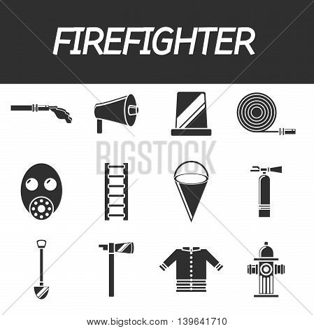 Firefighter icon set. Vector illustration, EPS 10