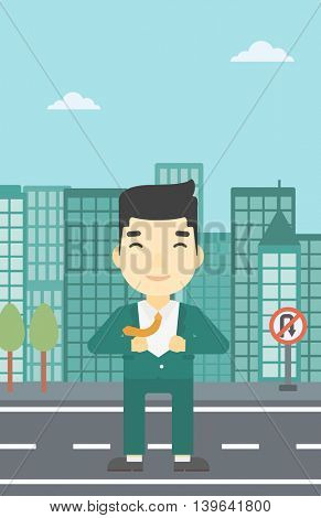 An asian young businessman opening his jacket like superhero on the background of modern city. Businessman superhero. Vector flat design illustration. Vertical layout.