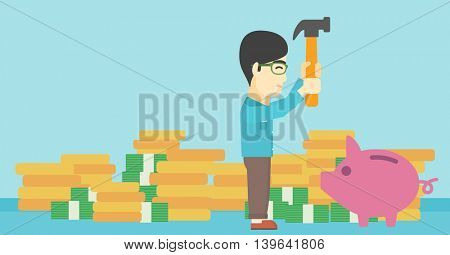 An asian young businessman breaking piggy bank on a blue background with stacks of coins. Concept of business bankruptcy. Vector flat design illustration. Horizontal layout.