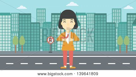 An asian young business woman opening her jacket like superhero on the background of modern city. Business woman superhero. Vector flat design illustration. Horizontal layout.