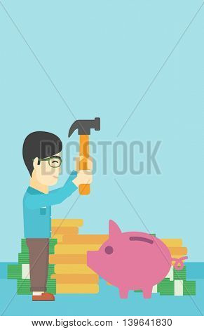An asian young businessman breaking piggy bank on a blue background with stacks of coins. Concept of business bankruptcy. Vector flat design illustration. Vertical layout.