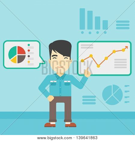 An asian businessman pointing at charts on a board during business presentation. Man giving a business presentation. Business presentation in progress. Vector flat design illustration. Square layout.