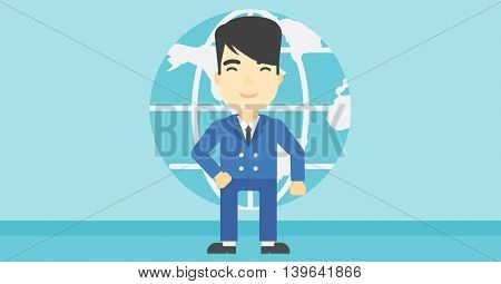 An asian businessman standing on background of Earth globe. Business man taking part in global business. Global business concept. Vector flat design illustration. Horizontal layout.